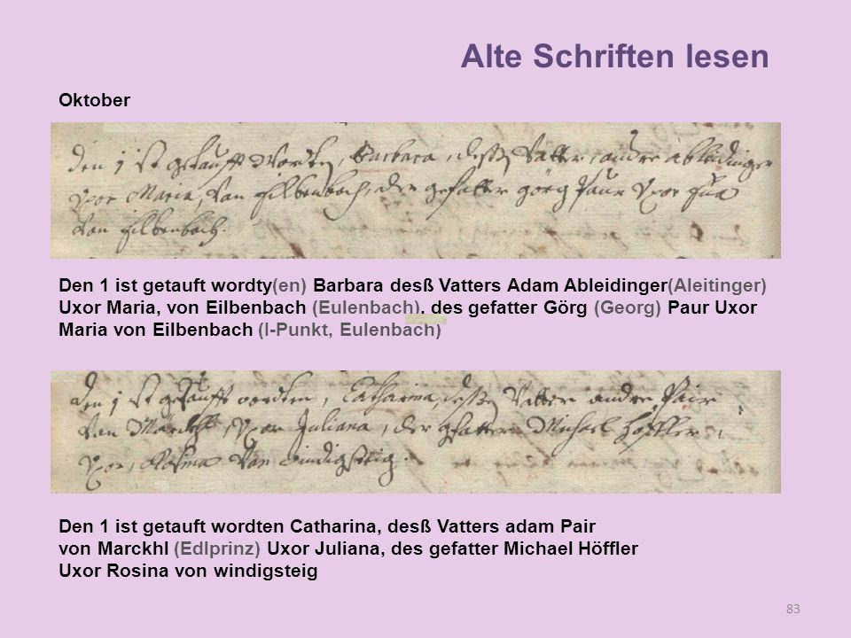 Alte Schriften lesen Oktober
