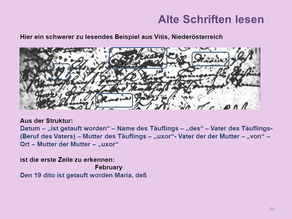 Alte Schriften lesen Hier ein schwerer zu lesendes Beispiel aus Vitis, Niederösterreich. Aus der Struktur: