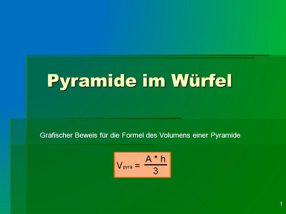 Pyramide im Würfel Grafischer Beweis für die Formel des Volumens einer Pyramide