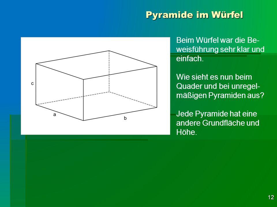 Pyramide im Würfel Beim Würfel war die Be-weisführung sehr klar und einfach. Wie sieht es nun beim Quader und bei unregel-mäßigen Pyramiden aus