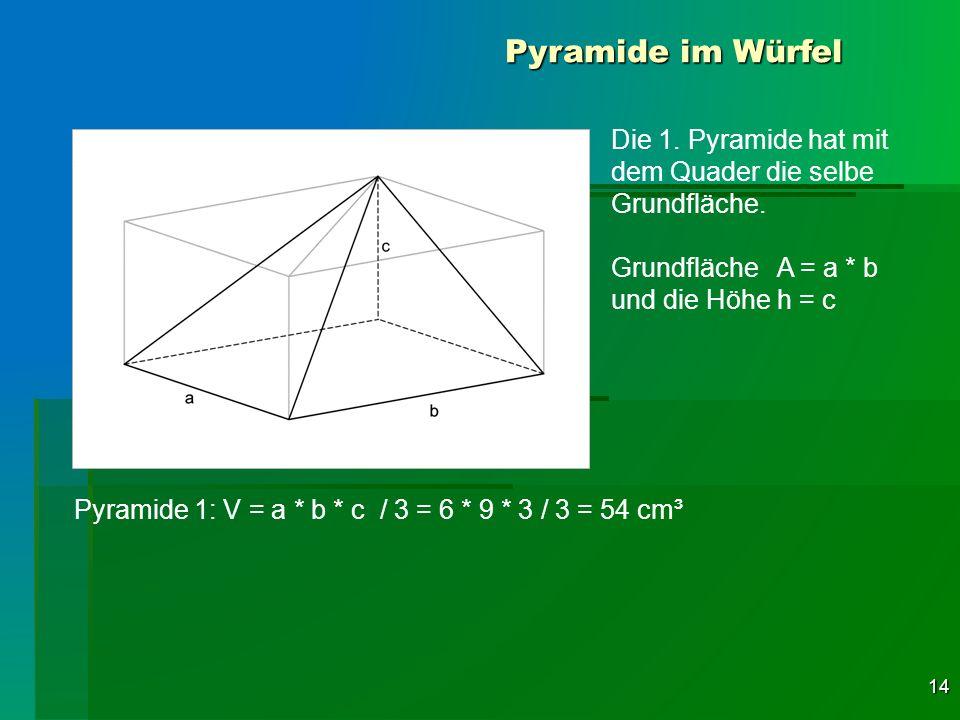 Pyramide im Würfel Die 1. Pyramide hat mit dem Quader die selbe