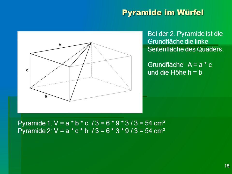 Pyramide im Würfel Bei der 2. Pyramide ist die Grundfläche die linke Seitenfläche des Quaders. Grundfläche A = a * c.