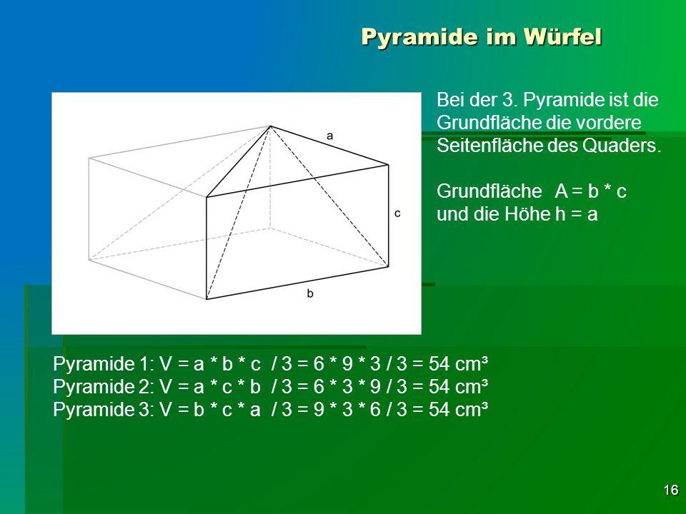 Pyramide im Würfel Bei der 3. Pyramide ist die Grundfläche die vordere Seitenfläche des Quaders. Grundfläche A = b * c.