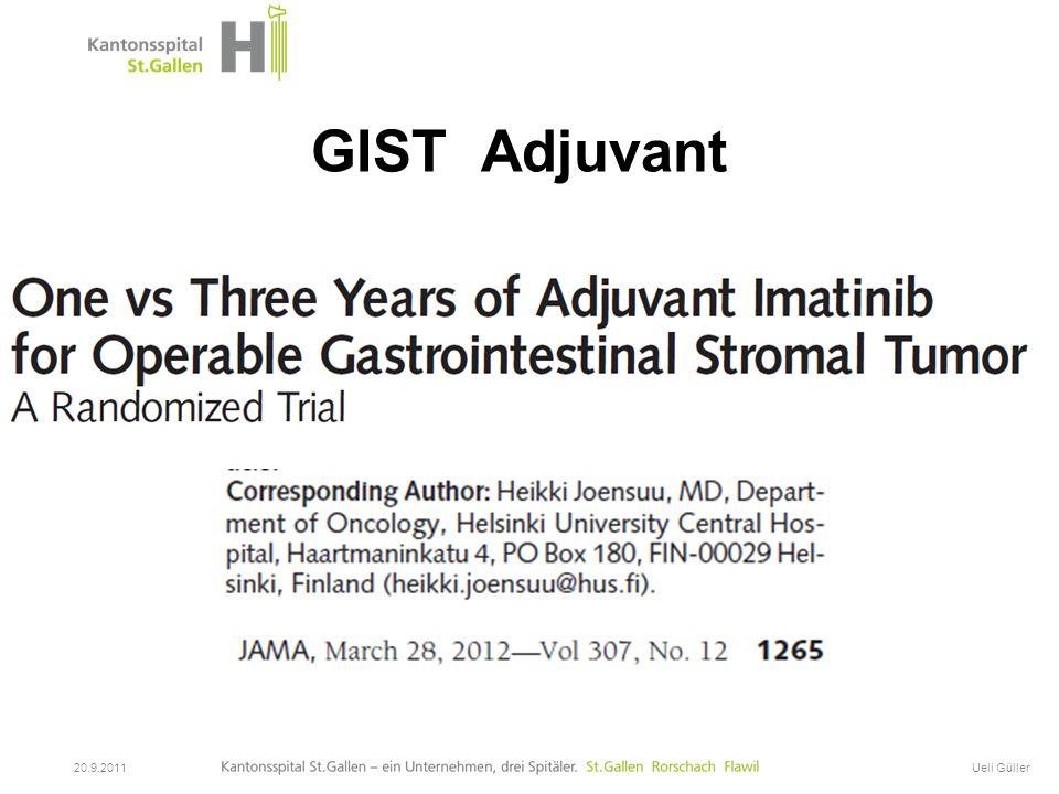 GIST Adjuvant Titel der Präsentation 20.9.2011 Ueli Güller