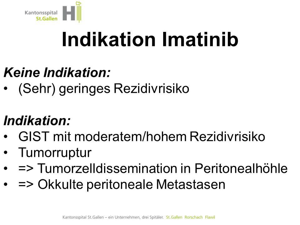 Indikation Imatinib Keine Indikation: (Sehr) geringes Rezidivrisiko