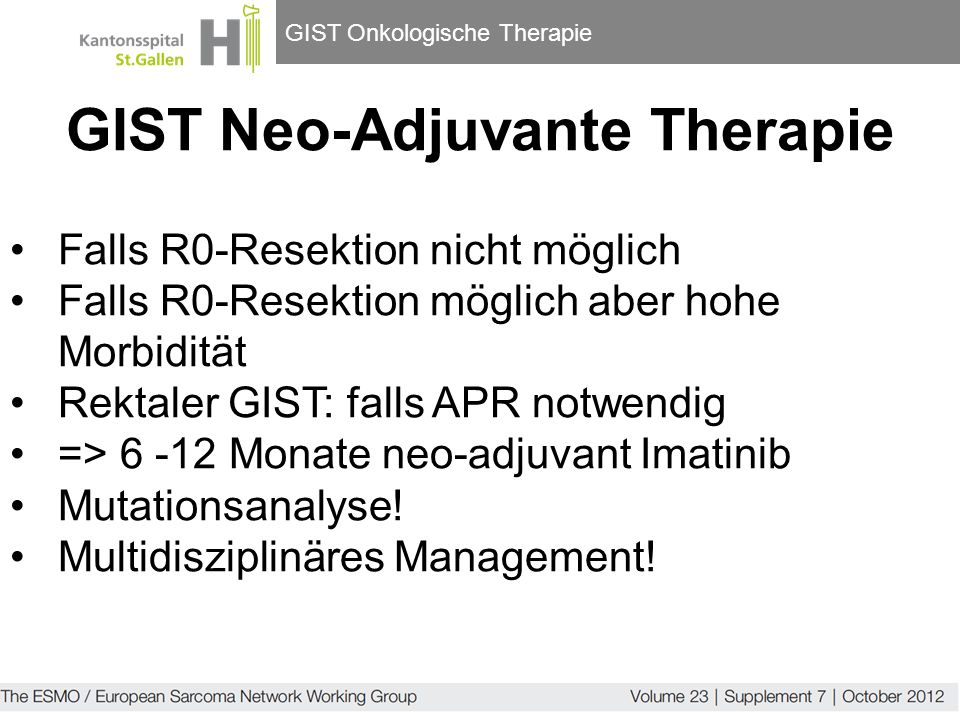 GIST Neo-Adjuvante Therapie