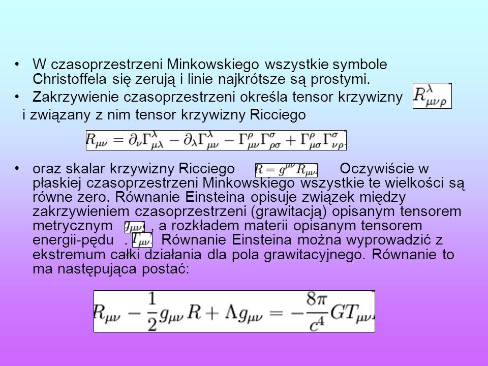 W czasoprzestrzeni Minkowskiego wszystkie symbole Christoffela się zerują i linie najkrótsze są prostymi.