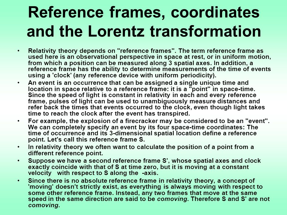 Reference frames, coordinates and the Lorentz transformation