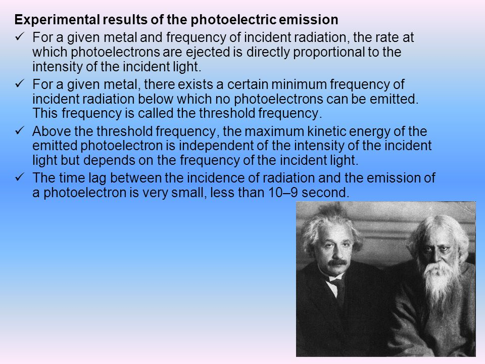 Experimental results of the photoelectric emission