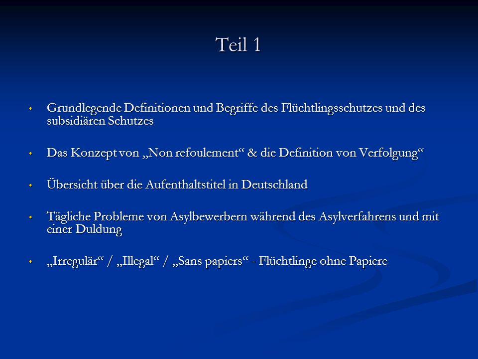 Teil 1 Grundlegende Definitionen und Begriffe des Flüchtlingsschutzes und des subsidiären Schutzes.