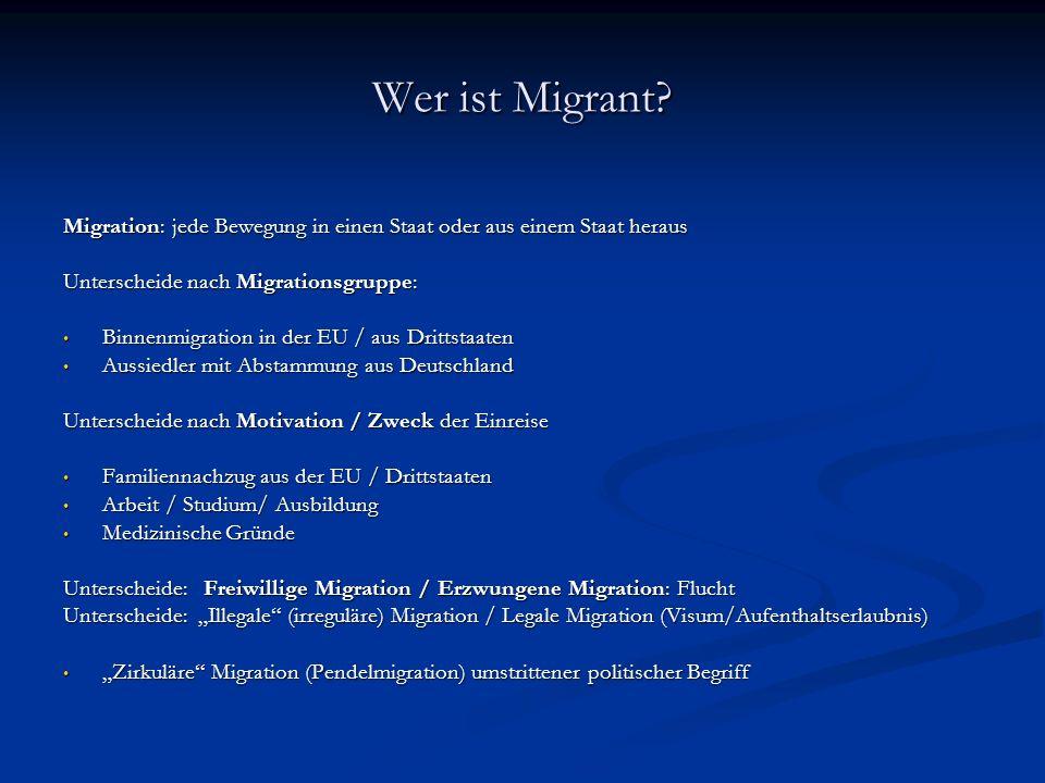 Wer ist Migrant Migration: jede Bewegung in einen Staat oder aus einem Staat heraus. Unterscheide nach Migrationsgruppe: