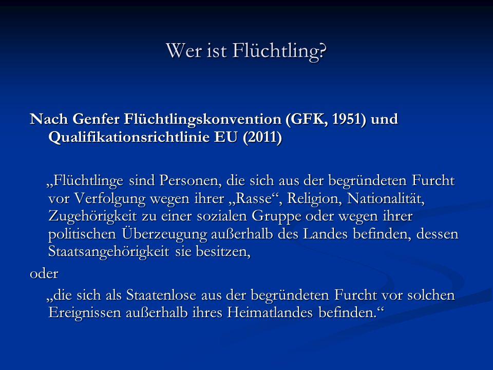 Wer ist Flüchtling Nach Genfer Flüchtlingskonvention (GFK, 1951) und Qualifikationsrichtlinie EU (2011)