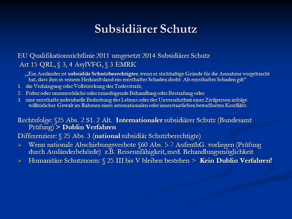 Subsidiärer Schutz EU Qualifikationsrichtlinie 2011 umgesetzt 2014 Subsidiärer Schutz. Art 15 QRL, § 3, 4 AsylVFG, § 3 EMRK.