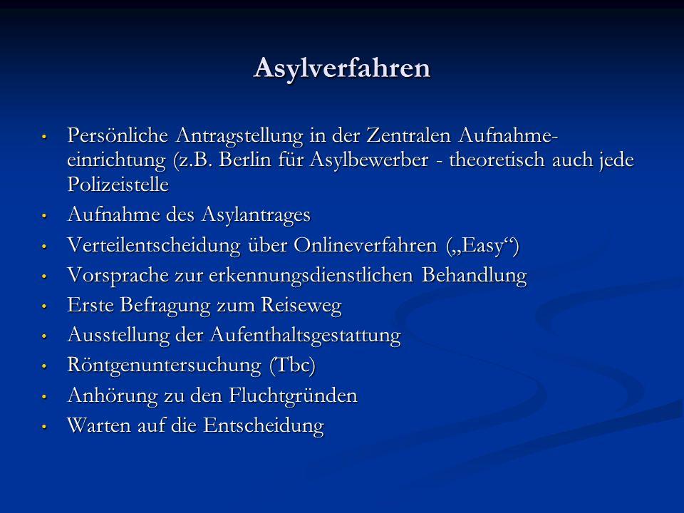 Asylverfahren Persönliche Antragstellung in der Zentralen Aufnahme-einrichtung (z.B. Berlin für Asylbewerber - theoretisch auch jede Polizeistelle.