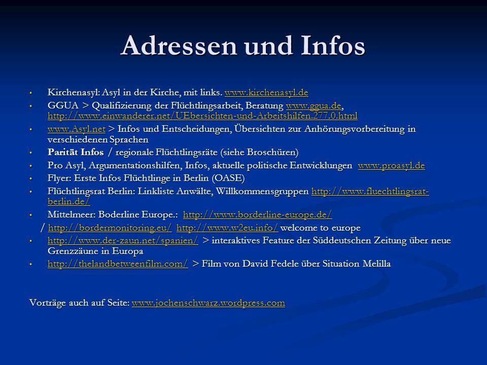 Adressen und Infos Kirchenasyl: Asyl in der Kirche, mit links. www.kirchenasyl.de.
