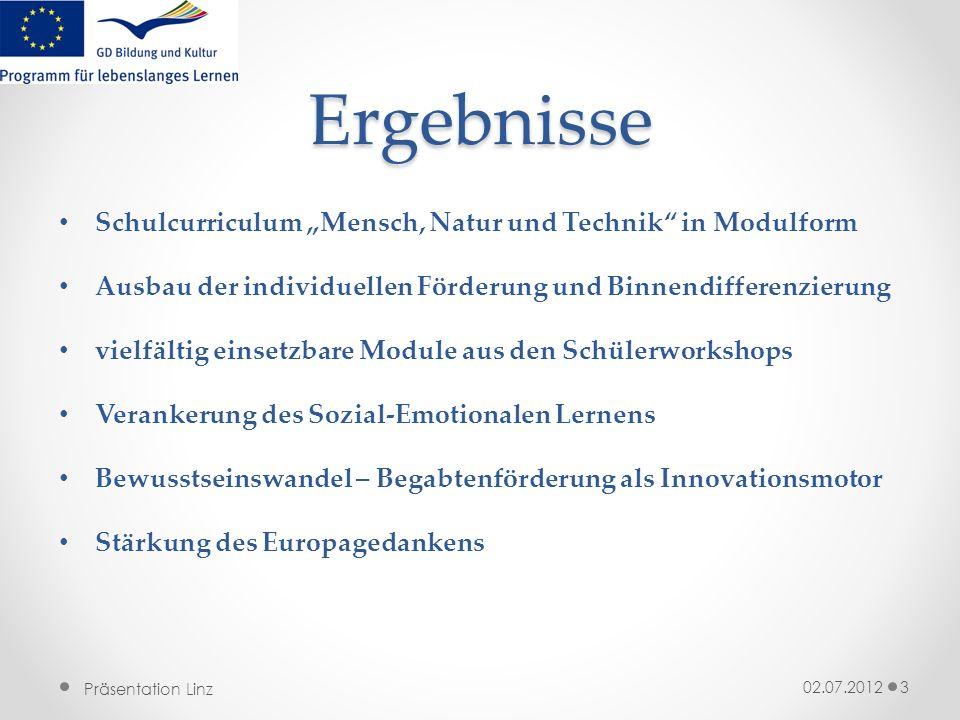 """Ergebnisse Schulcurriculum """"Mensch, Natur und Technik in Modulform"""