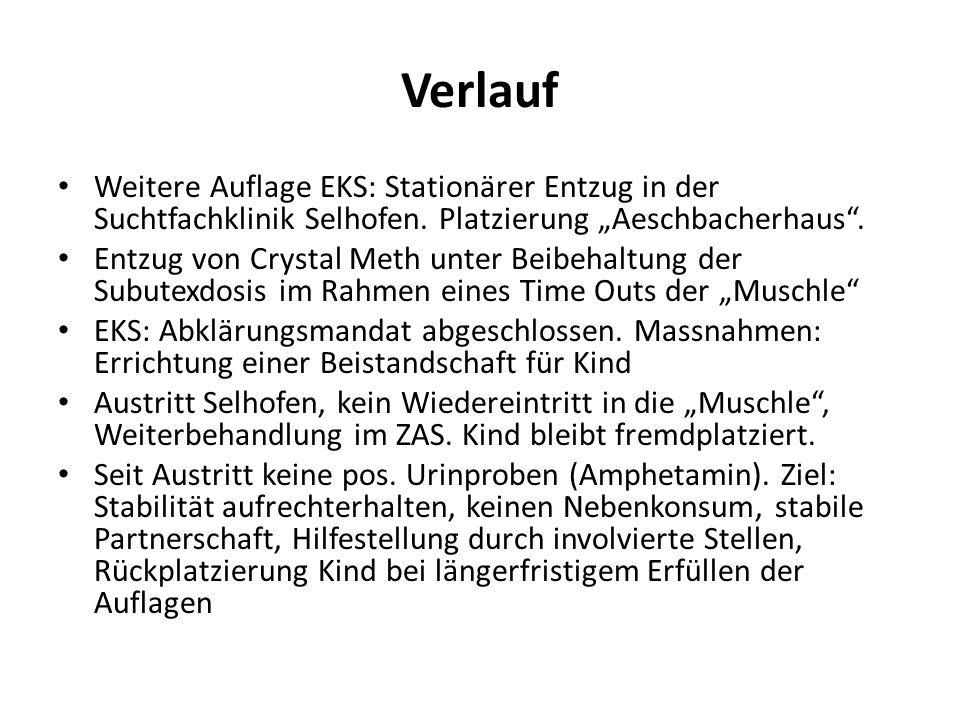 """Verlauf Weitere Auflage EKS: Stationärer Entzug in der Suchtfachklinik Selhofen. Platzierung """"Aeschbacherhaus ."""
