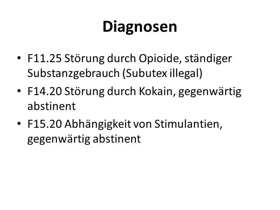 Diagnosen F11.25 Störung durch Opioide, ständiger Substanzgebrauch (Subutex illegal) F14.20 Störung durch Kokain, gegenwärtig abstinent.