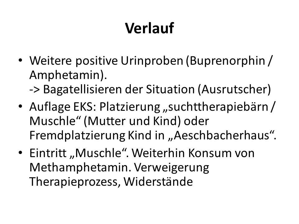 Verlauf Weitere positive Urinproben (Buprenorphin / Amphetamin). -> Bagatellisieren der Situation (Ausrutscher)