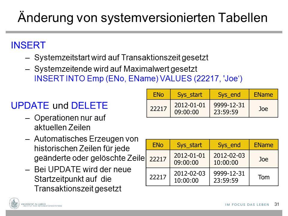 Änderung von systemversionierten Tabellen