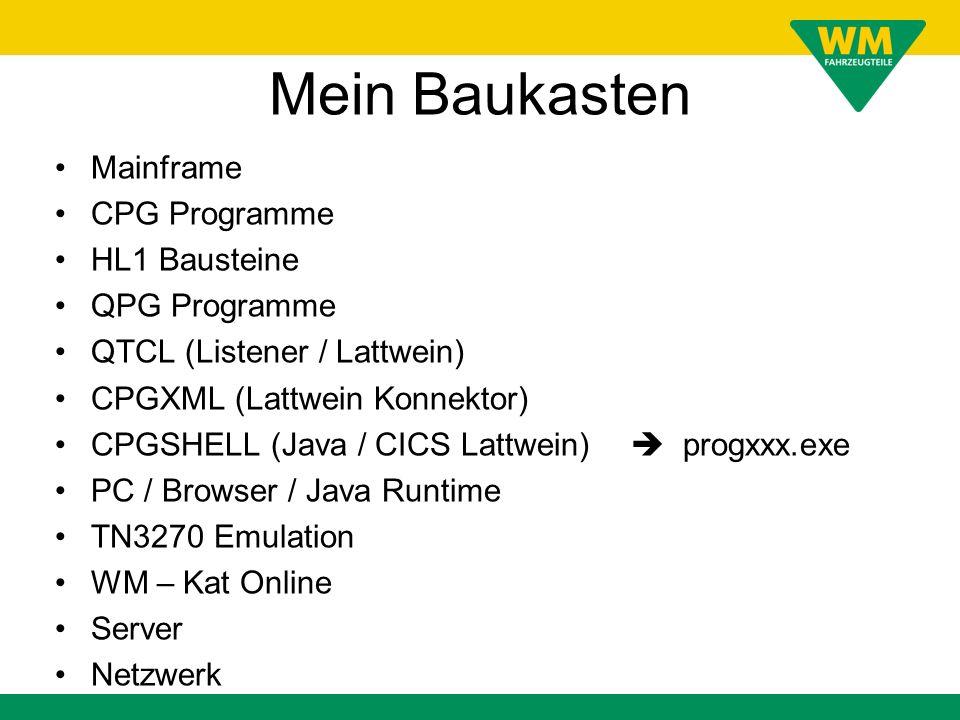 Mein Baukasten Mainframe CPG Programme HL1 Bausteine QPG Programme