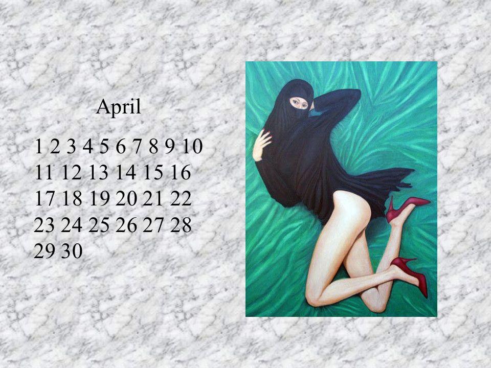 April 1 2 3 4 5 6 7 8 9 10 11 12 13 14 15 16 17 18 19 20 21 22 23 24 25 26 27 28 29 30. LE 1er/ anniversaire de mariage RT.