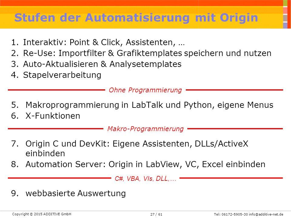 Stufen der Automatisierung mit Origin
