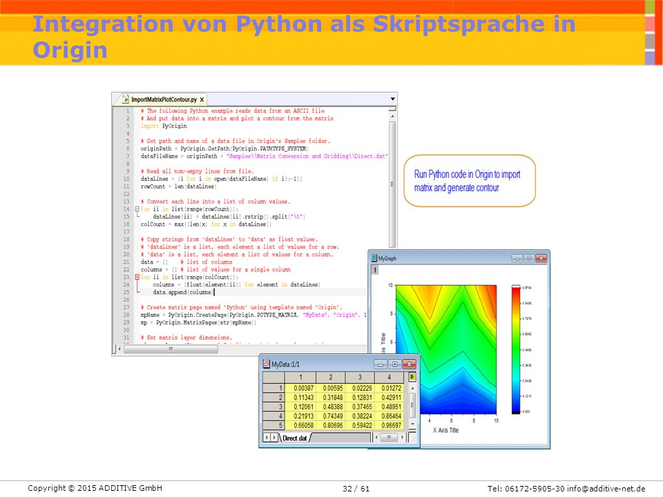 Integration von Python als Skriptsprache in Origin
