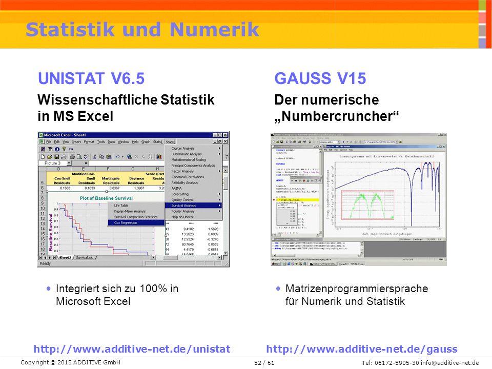 Statistik und Numerik UNISTAT V6.5 GAUSS V15