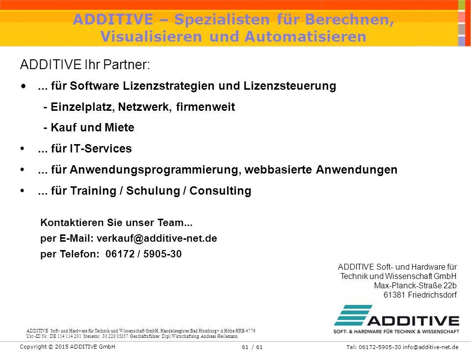 ADDITIVE – Spezialisten für Berechnen, Visualisieren und Automatisieren