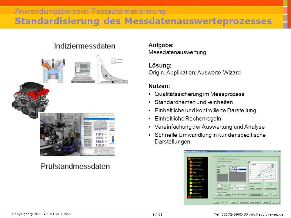 Anwendungsbeispiel Testautomatisierung Standardisierung des Messdatenauswerteprozesses