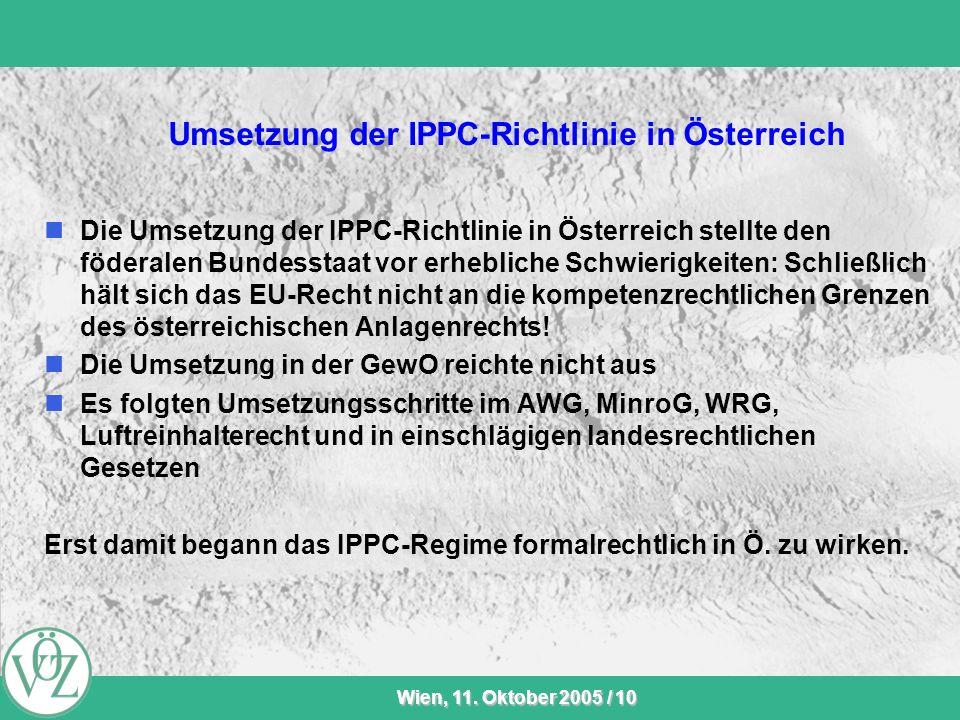 Umsetzung der IPPC-Richtlinie in Österreich