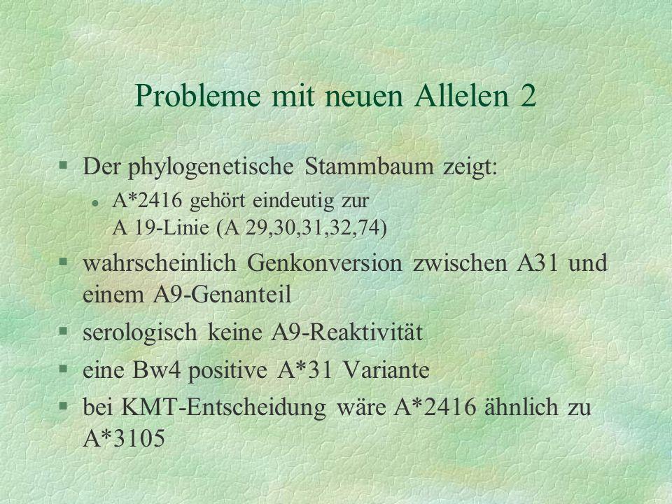 Probleme mit neuen Allelen 2