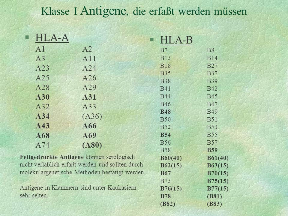 Klasse I Antigene, die erfaßt werden müssen