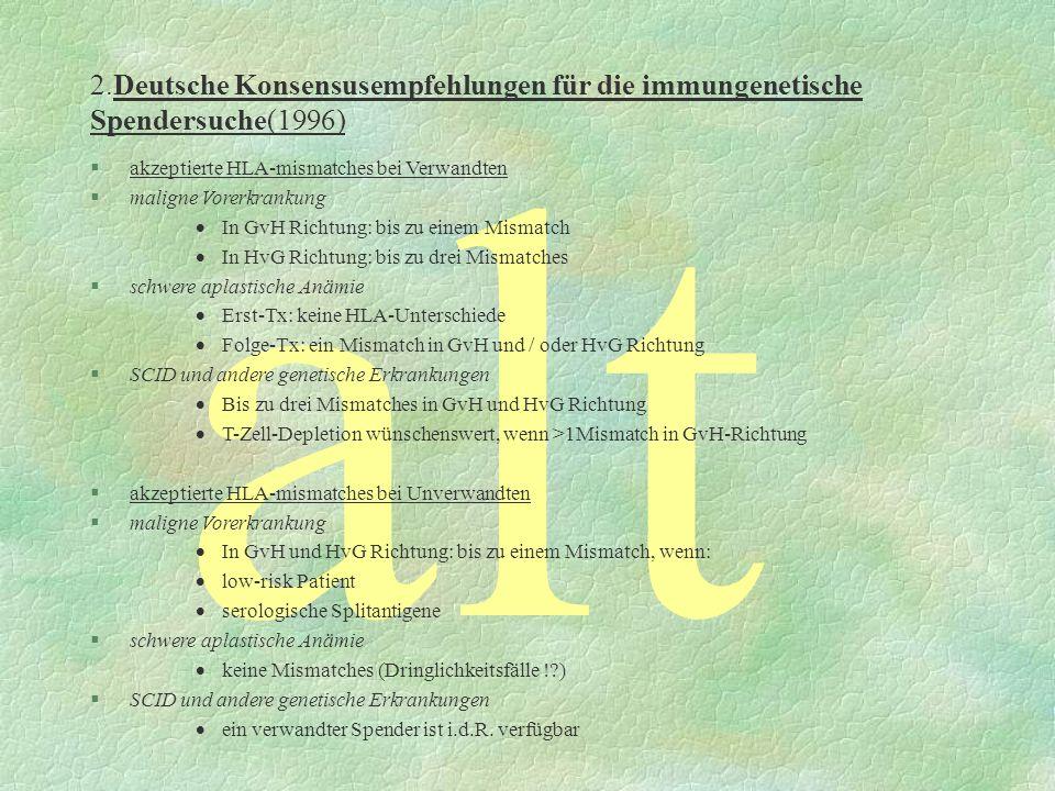 2.Deutsche Konsensusempfehlungen für die immungenetische Spendersuche(1996)
