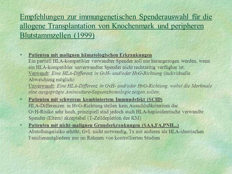 Empfehlungen zur immungenetischen Spenderauswahl für die allogene Transplantation von Knochenmark und peripheren Blutstammzellen (1999)