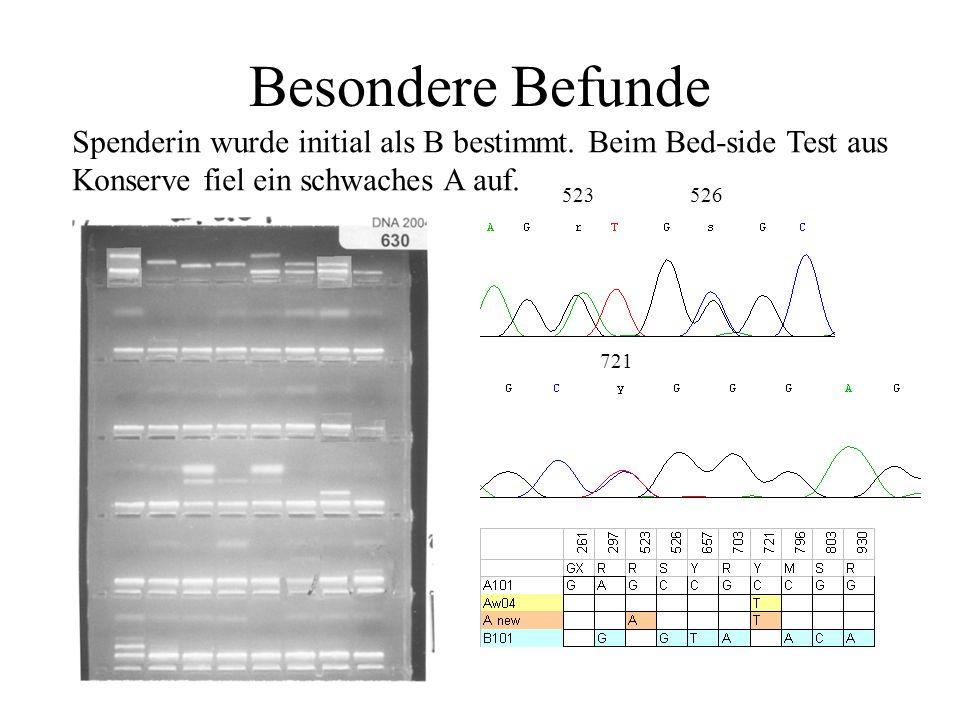 Besondere Befunde Spenderin wurde initial als B bestimmt. Beim Bed-side Test aus. Konserve fiel ein schwaches A auf.