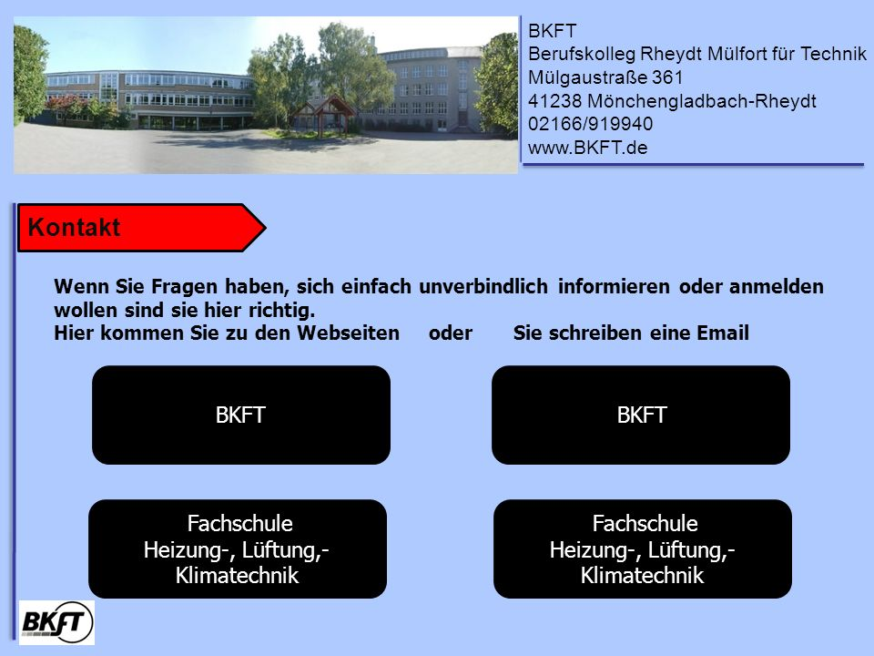 Kontakt BKFT BKFT Fachschule Heizung-, Lüftung,- Klimatechnik