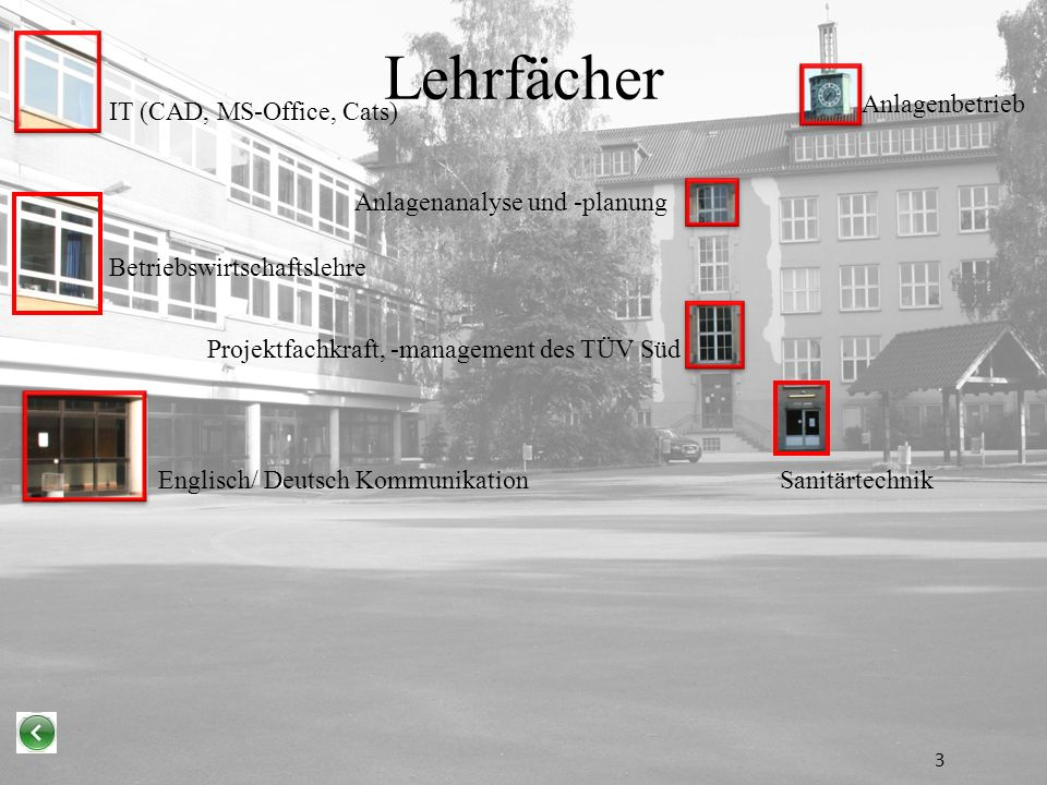 Lehrfächer Anlagenbetrieb IT (CAD, MS-Office, Cats)