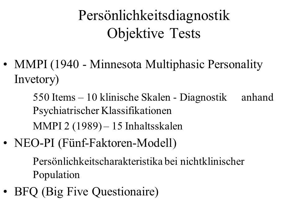 Persönlichkeitsdiagnostik Objektive Tests