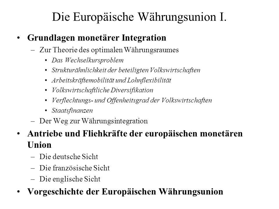 Die Europäische Währungsunion I.