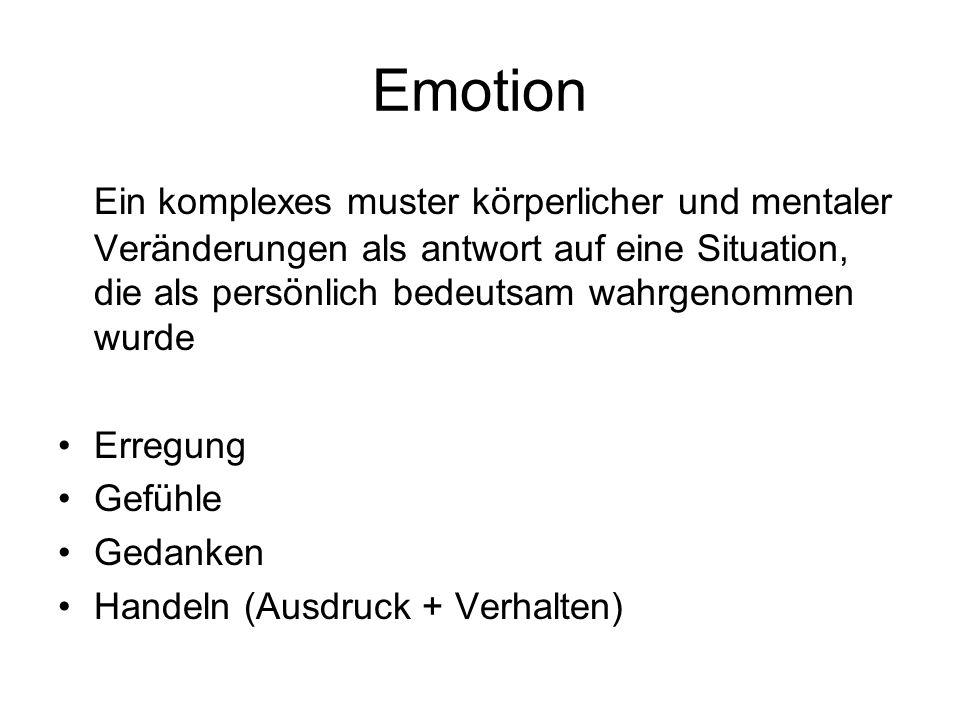 Emotion Ein komplexes muster körperlicher und mentaler Veränderungen als antwort auf eine Situation, die als persönlich bedeutsam wahrgenommen wurde.