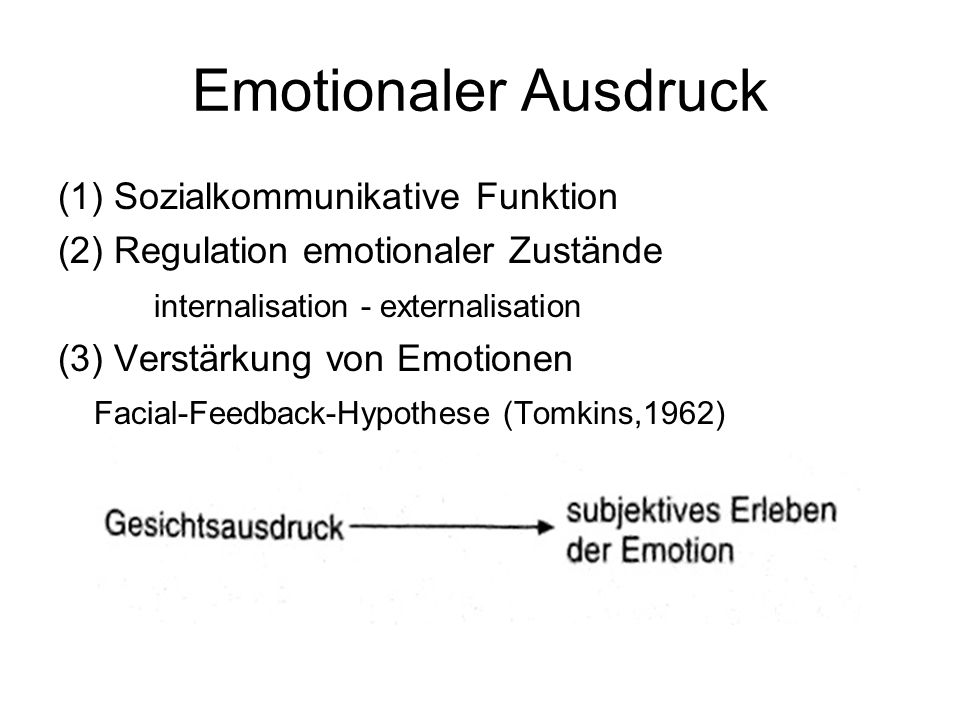 Emotionaler Ausdruck (1) Sozialkommunikative Funktion