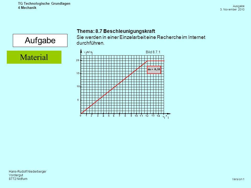 Aufgabe Material Thema: 8.7 Beschleunigungskraft