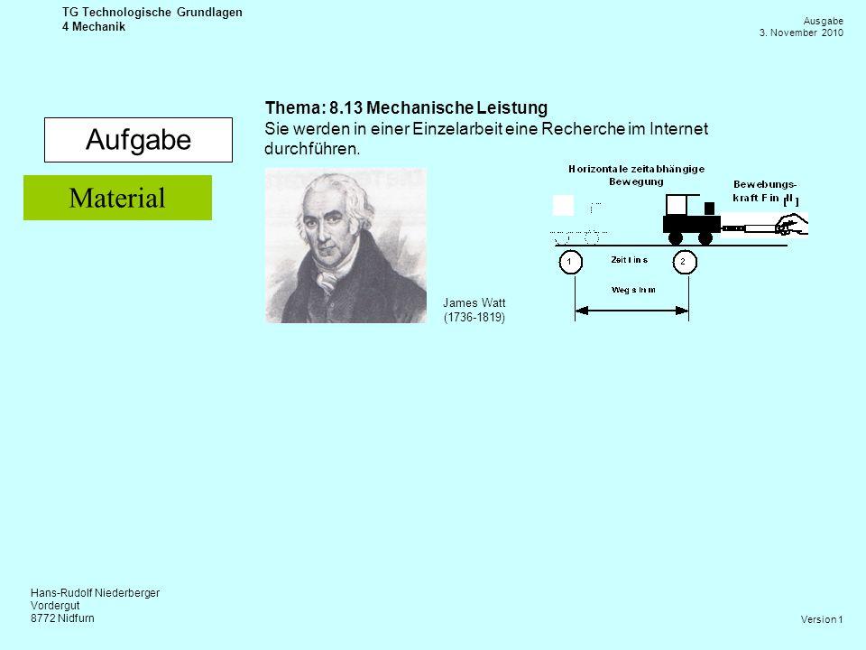 Aufgabe Material Thema: 8.13 Mechanische Leistung