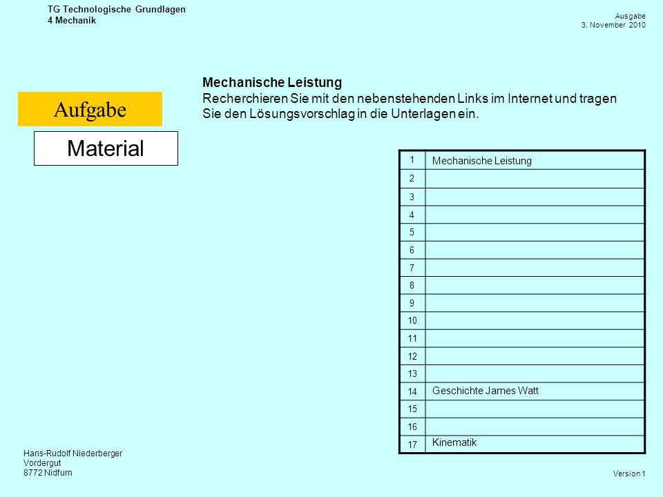 Aufgabe Material Mechanische Leistung