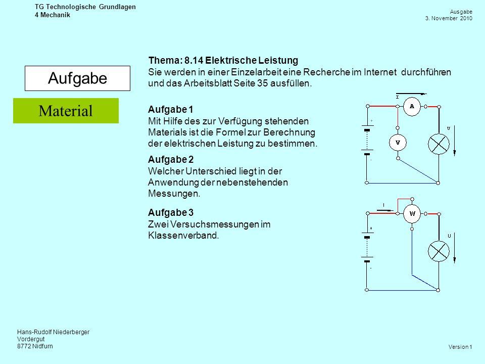 Aufgabe Material Thema: 8.14 Elektrische Leistung
