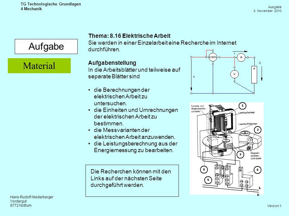 Aufgabe Material Thema: 8.16 Elektrische Arbeit