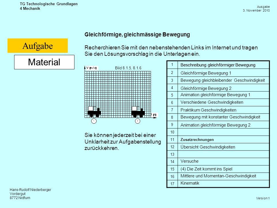 Aufgabe Material Gleichförmige, gleichmässige Bewegung