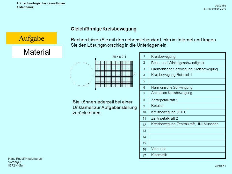 Aufgabe Material Gleichförmige Kreisbewegung